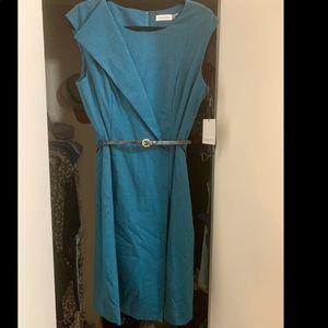 NWT~ Calvin Klein teal blue sheath midi dress